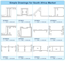 Aluminum Profile Drawings for South Africa