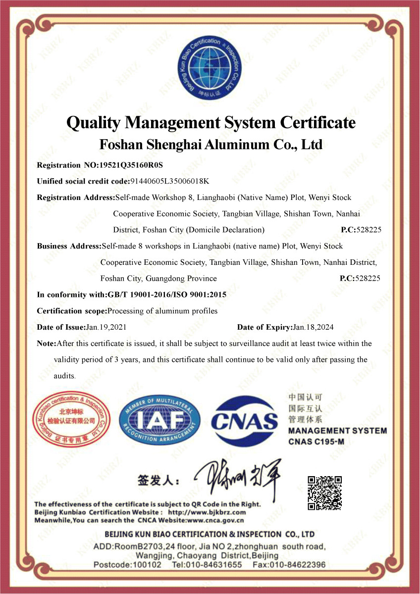 Shenghai Aluminum is ISO9001 certified